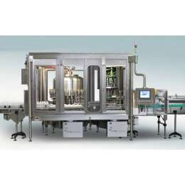 Continuous rotary net weight filling and capping bottle monoblock