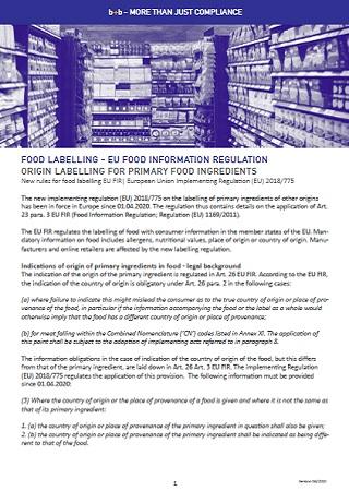 FOOD LABELLING - EU FOOD INFORMATION REGULATION