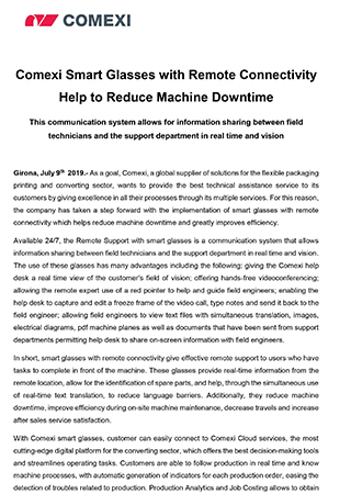 Comexi Smart Glasses with Remote Connectivity Help to Reduce Machine Downtime