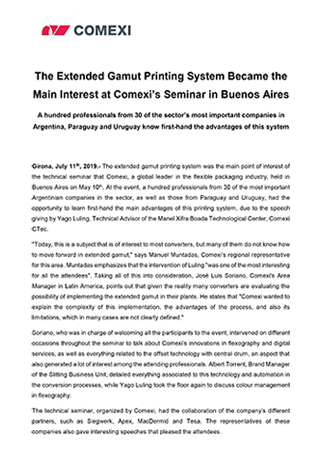 The Extended Gamut Printing System Became the Main Interest at Comexi's Seminar in Buenos Aires