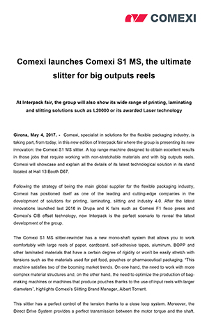 Comexi launches Comexi S1 MS, the ultimate slitter for big outputs reels