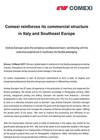 Comexi reinforces its commercial structure in Italy and Southeast Europe