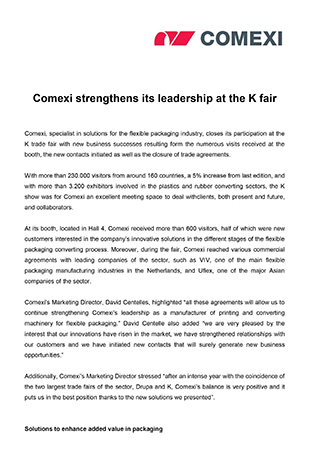 Comexi strengthens its leadership at the K fair