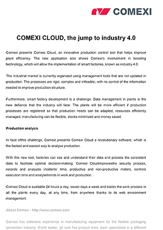COMEXI CLOUD, the jump to industry 4.0