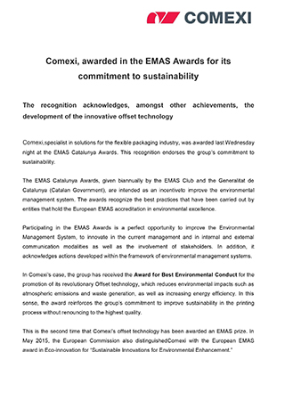 Comexi, awarded in the EMAS Awards for its commitment to sustainability