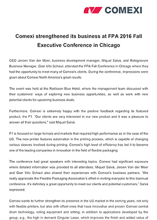 Comexi strengthened its business at FPA 2016 Fall Executive Conference in Chicago
