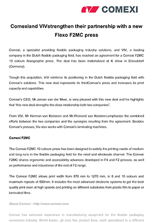 Comexiand VIV strengthen their partnership with a new Flexo F2MC press