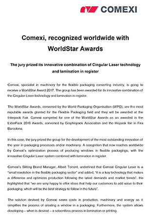 Comexi, recognized worldwide with WorldStar Awards