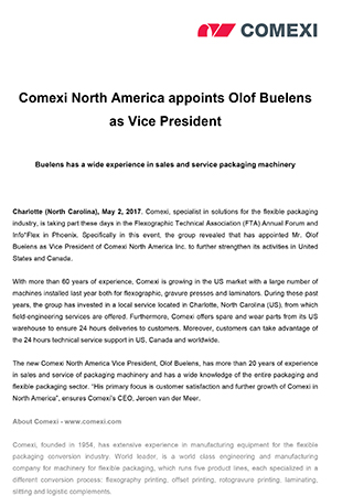 Comexi North America appoints Olof Buelens as Vice President