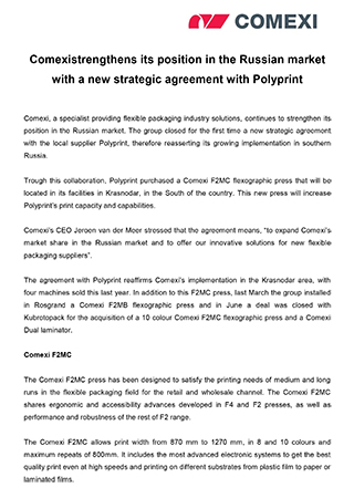 Comexi strengthens its position in the Russian market with a new strategic agreement with Polyprint