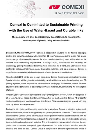 PR - Comexi is Committed to Sustainable Printing with the Use of Water-Based and Curable Inks_Flexo