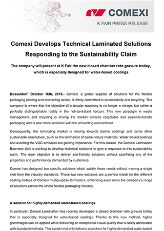 PR - Comexi Develops Technical Laminated Solutions Responding to the Sustainability Claim_lamination