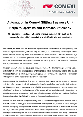 PR - Automation in Comexi Slitting Business Unit Helps to Optimize and Increase Efficiency_slitting
