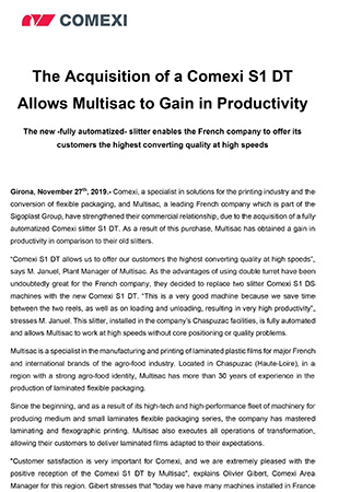 The Acquisition of a Comexi S1 DT Allows Multisac to Gain in Productivity