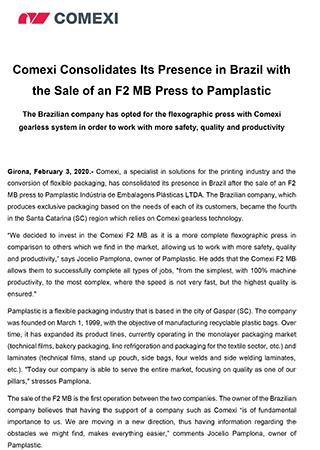 PR - Comexi Consolidates Its Presence in Brazil with the Sale of an F2 MB Press to Pamplastic