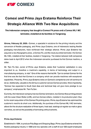PR - Comexi and Prima Jaya Eratama Reinforce Their Strategic Alliance With Two New Acquisitions