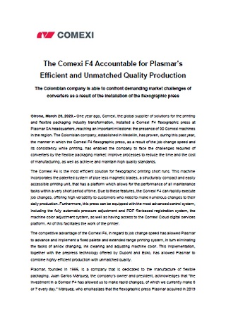 The Comexi F4 Accountable for Plasmar's Efficient and Unmatched Quality Production