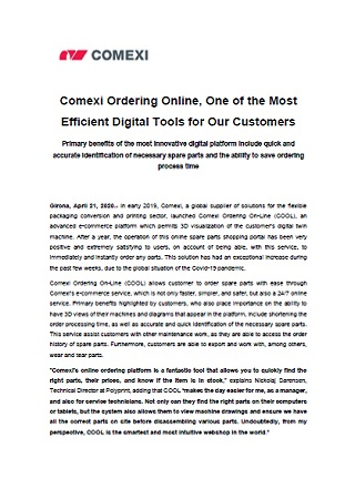 Comexi Ordering Online, One of the Most Efficient Digital Tools for Our Customers
