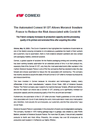 The Automated Comexi S1 DT Allows Morancé Soudure France to Reduce the Risk Associated with Covid-19