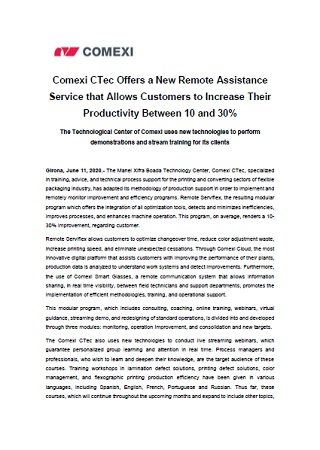 Comexi CTec Offers a New Remote Assistance Service