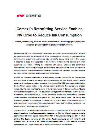 Comexi's Retrofitting Service Enables NV Orbo to Reduce Ink Consumption