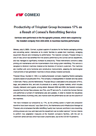 Productivity of Trioplast Group Increases 17% as a Result of Comexi's Retrofitting Service