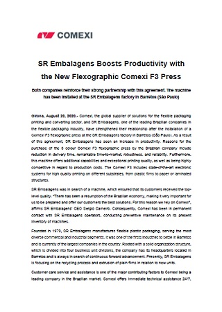 SR Embalagens Boosts Productivity with the New Flexographic Comexi F3 Press