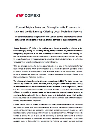 Comexi Triples Sales and Strengthens its Presence in Italy and the Balkans by Offering Local Technical Service