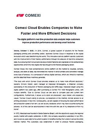 Comexi Cloud Enables Companies to Make Faster and More Efficient Decisions