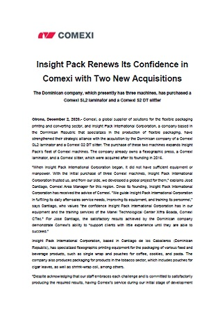 Insight Pack Renews Its Confidence in Comexi with Two New Acquisitions