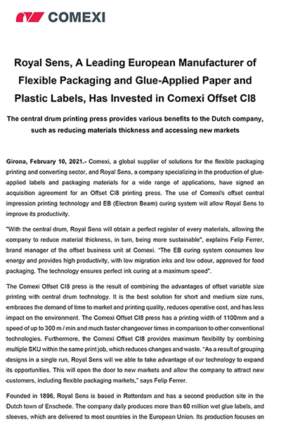 PR - Royal Sens, A Leading European Manufacturer of Flexible Packaging and Glue-Applied Paper and Plastic Labels, Has Invested in Comexi Offset CI8