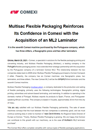 Multisac Flexible Packaging Reinforces Its Confidence in Comexi with the Acquisition of an ML2 Laminator
