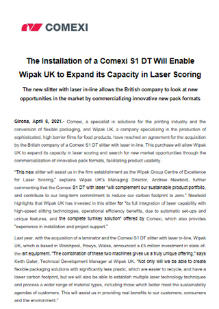 The Installation of a Comexi S1 DT Will Enable Wipak UK to Expand its Capacity in Laser Scoring