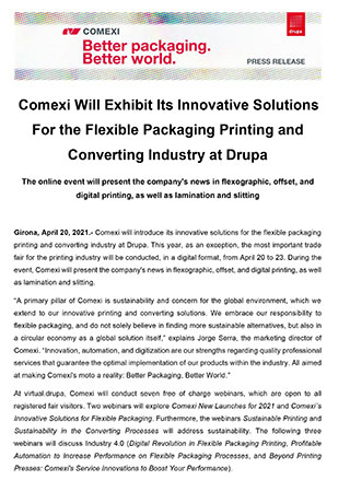 Comexi Will Exhibit Its Innovative Solutions For the Flexible Packaging Printing and Converting Industry at Drupa