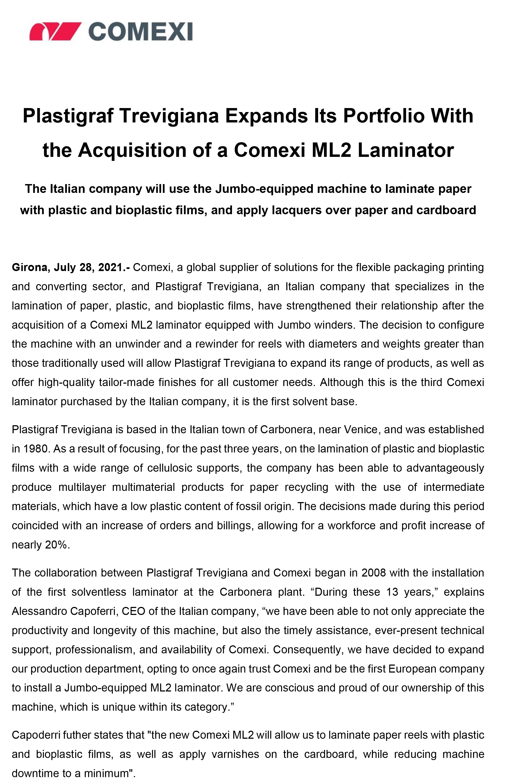 Plastigraf Trevigiana Expands Its Portfolio With the Acquisition of a Comexi ML2 Laminator