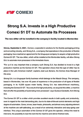 Strong S.A. Invests in a High Productive Comexi S1 DT to Automate Its Processes