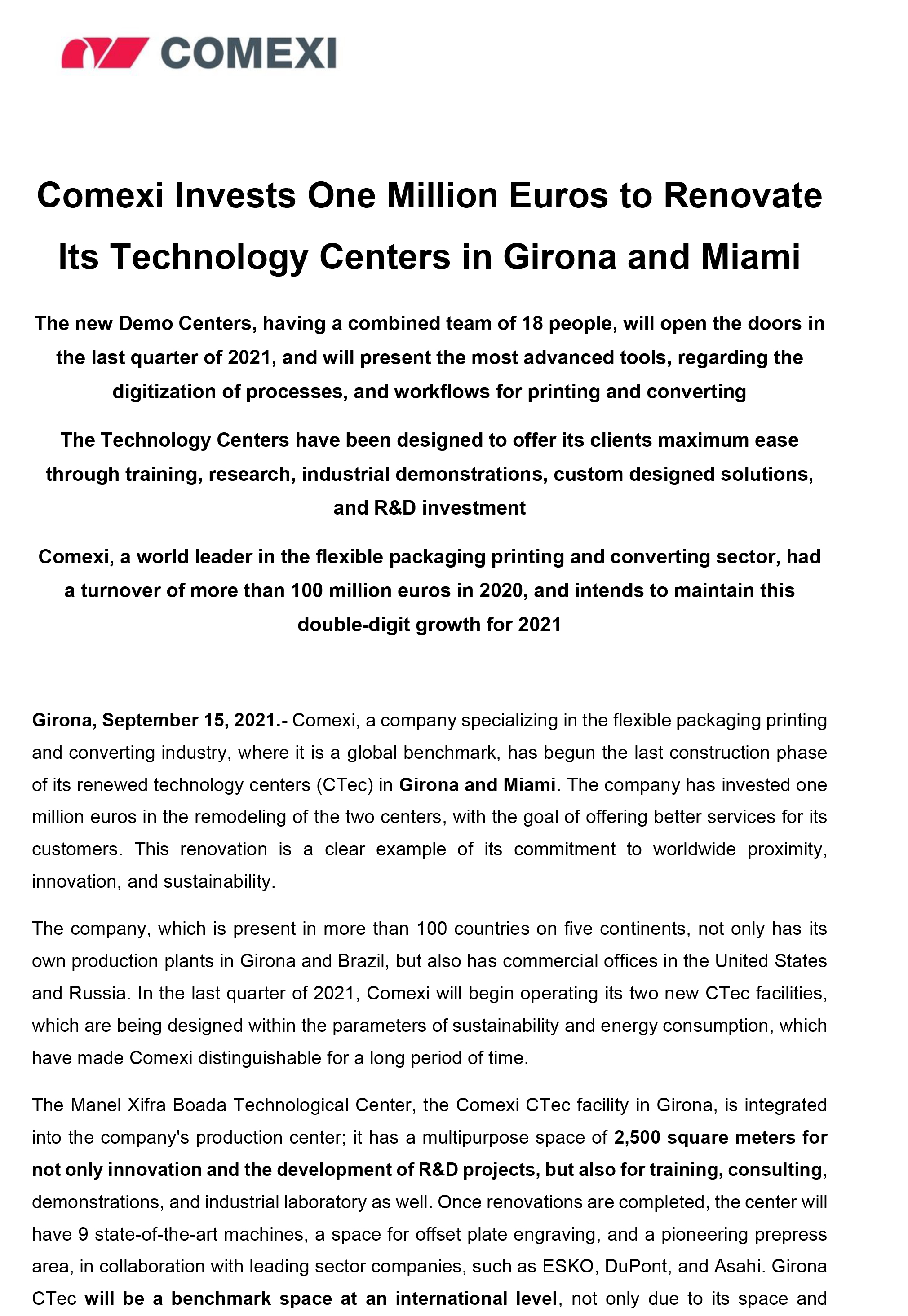 PR - Comexi Invests One Million Euros to Renovate Its Technology Centers in Girona and Miami