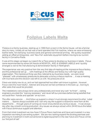 Foilplus Labels Malta