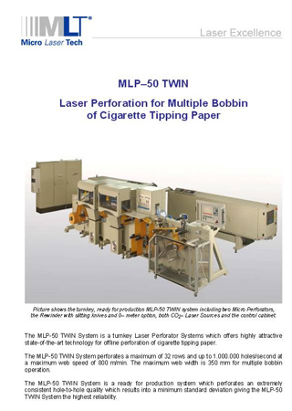 Laser Perforation for Multiple Bobbin of Cigarette Tipping Paper
