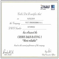 P.E.T. Engineering is Cribis D&B Rating 1