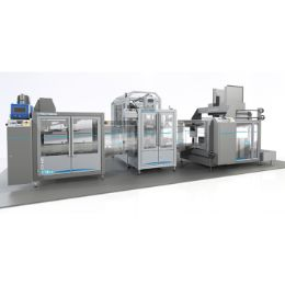 Automatic line for filling and packaging liquids in BIBs